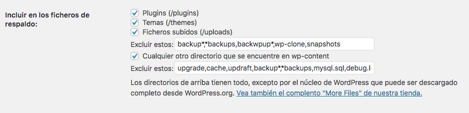 ajustes updraft archivos incluidos