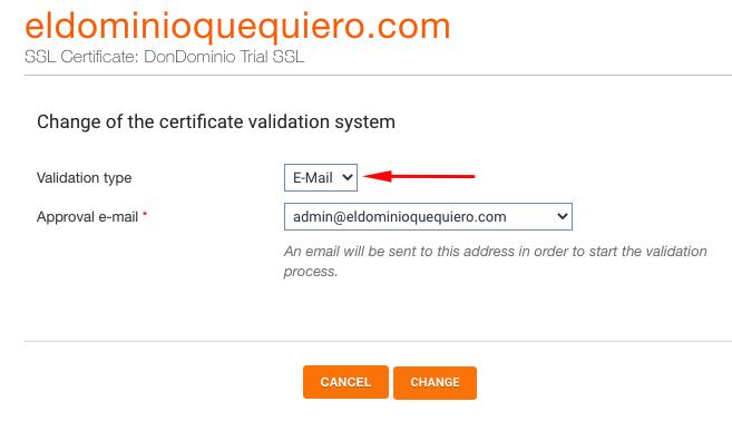 Selección tipo de validación de SSL en DonDominio