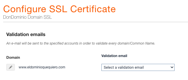 Selección de correo de validación para alta de un SSL en DonDominio