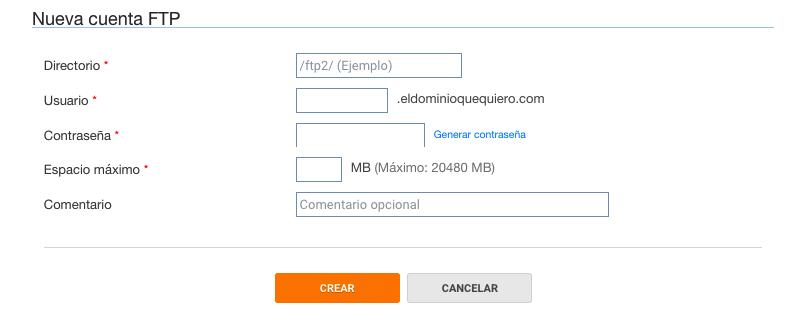 Configuración de cuentas FTP en DonDominio