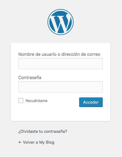 acceso panel wordpress