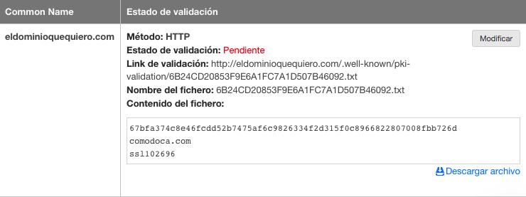 Selección de por HTTP de un SSL en DonDominio