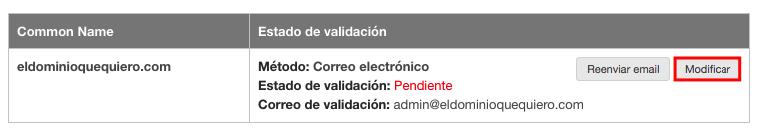 Modificar tipo validación SSL en DonDominio