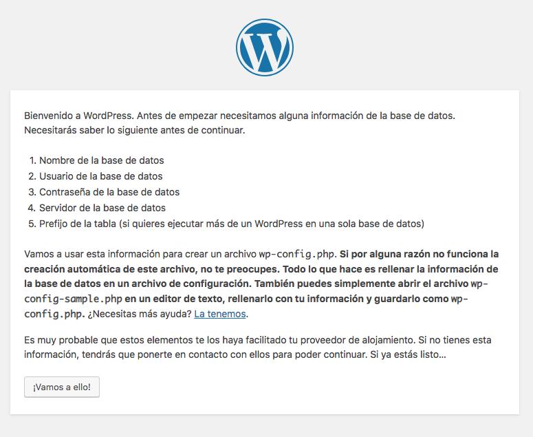 Instalador WordPress paso 1