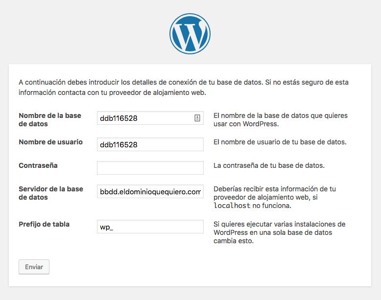 Instalador WordPress paso 2