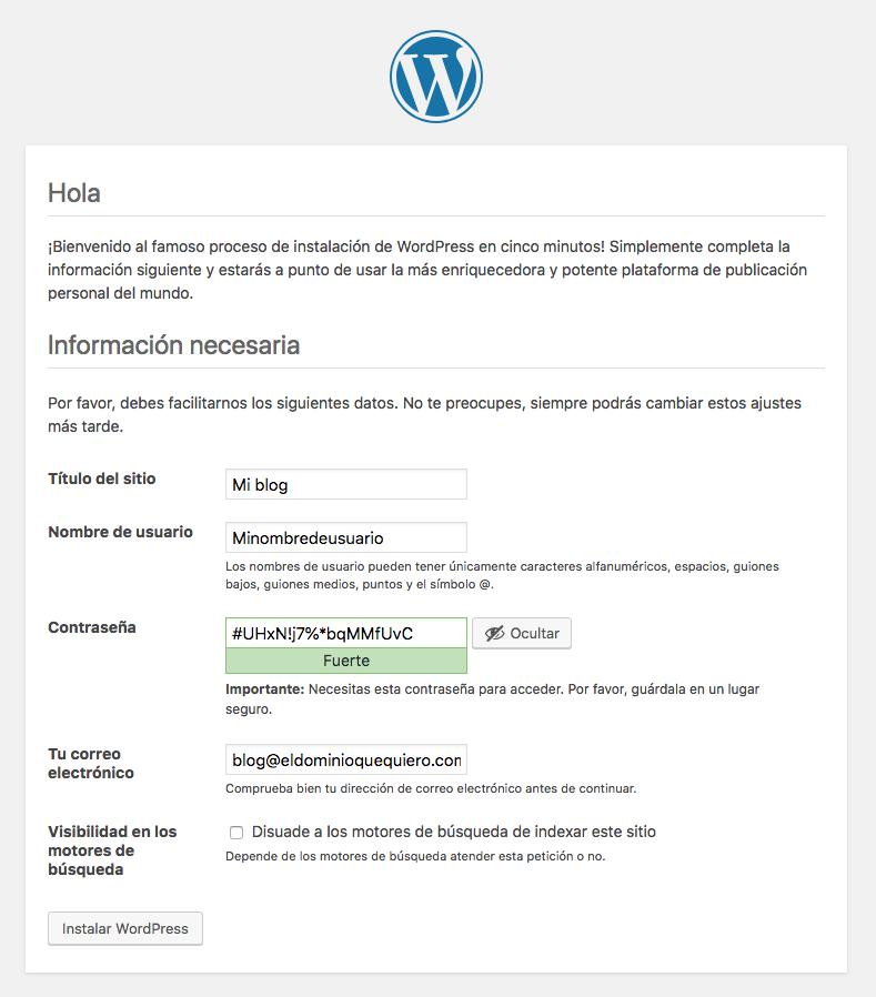 Instalador WordPress paso 4