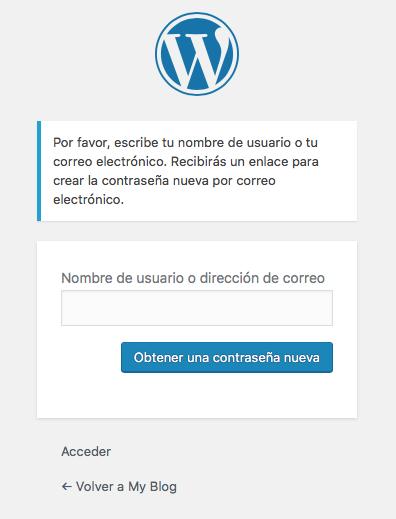 Solicitar recuperar contraseña WordPress