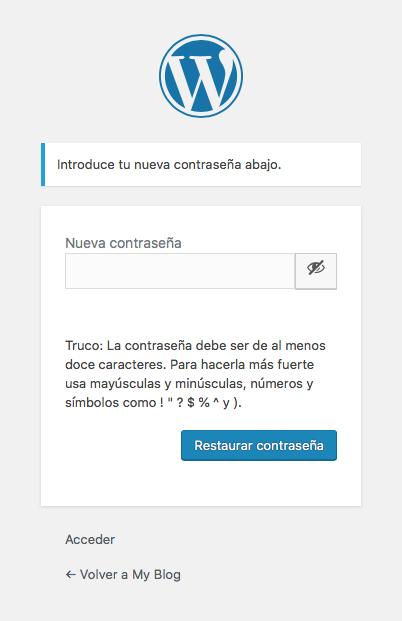 WordPress crear nueva contraseña
