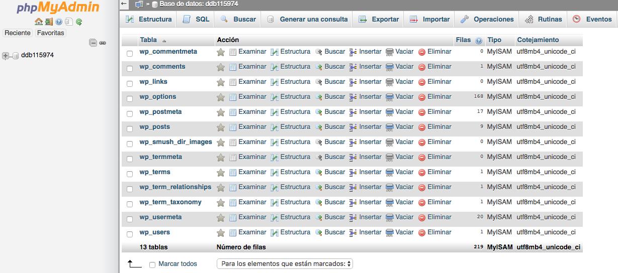 listado tablas base de datos