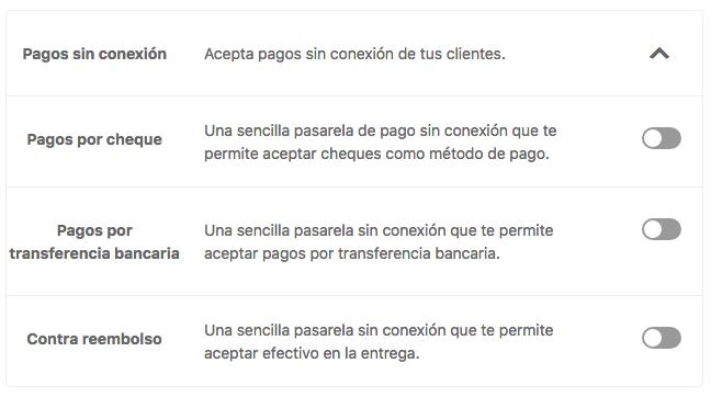 apartado 2 configurador WooCommerce - pagos offline